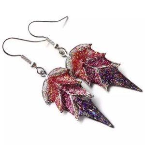 Jewelry - Red Fuchsia Purple Silver Tone Dangle Earrings